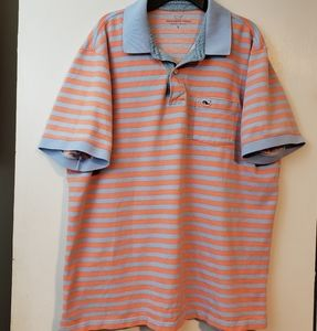 Vineyard Vines orange and blue stripe polo L